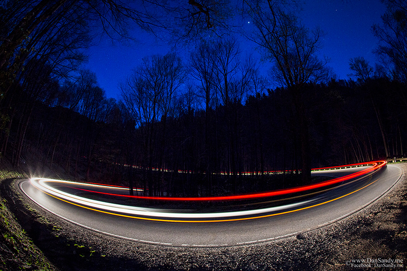 Night shot of the road heading from Clingman's Dome towards Pigeon Forge, KY