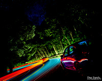 Night shot of the road heading from Clingman's Dome towards Gatlinburg, TN (sky replaces)